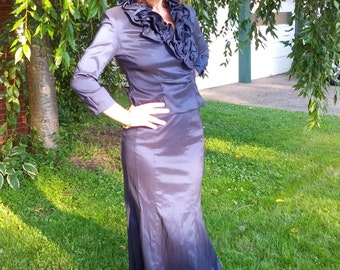 Stunning Vintage 80s Royal Blue Ruffle Fishtail Hem Penny Dreadful Victorian Evening Gown Maxi Dress Size Small