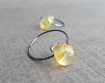 Yellow Honey Earrings, Small Hoop Earrings, Small Yellow Hoops, Yellow Lampwork Earrings, Oxidized Sterling Silver Earrings, Everyday Hoops