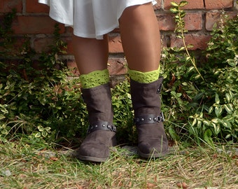 Light Green Color Crocheted open work lacy leg warmers spats boot cuffs fall winter fashion