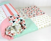 Baby Girl Blanket, Minky Blanket, Coral Crib Bedding, Decor, Coral Pink, Blush Pink, Mint Green, Black, Gold, Aztec Nursery, Tribal Nursery