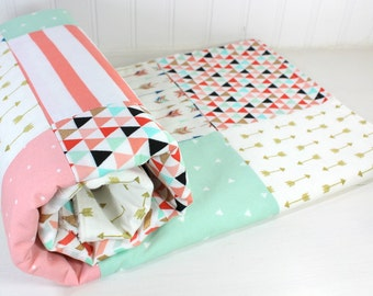 Tribal Baby Girl Blanket Tribal Crib Bedding Tribal Nursery Decor Baby Shower Gift Coral Pink Blush Pink Mint Green Black Gold Arrows