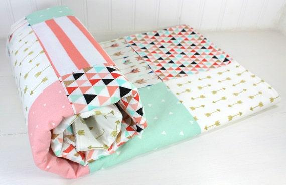 Baby Girl Blanket Minky Blanket Coral Crib Bedding Decor