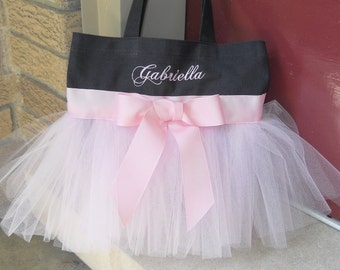 Naptime 21, Ballet bag, dance bag, flower girls tote bag, Embroidered Dance Bag, Black Bag with Pink Tulle & ribbon Tutu Tote Bag TB44 E
