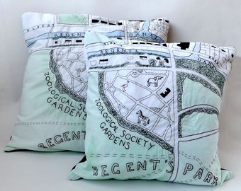 Victorian London Zoo Embroidered Map Cushion Cover