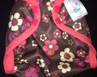 Pink and Brown Floral Poly PUL Cloth Diaper Cover With Aplix Hook & Loop Or Snaps You Pick Size XS, Small, Medium, Large, or One Size