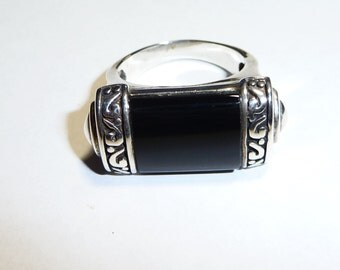Sterling Silver East West Onyx Ring Size 9 on Etsy by APURPLEPALM