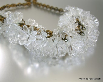 Art Deco Clear Plastic Flower Necklace on Brass Chain