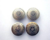 Sterling Silver Vintage Button Covers Southwest Style Eagle Feather Design