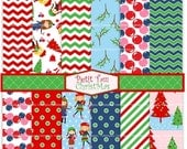ON SALE Christmas Digital paper pack, digital backgrounds- girls christmas digital paper, green red, chevron, stripe, polka dots