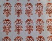 Marimekko vintage VIHKIRUUSU fabric orange and natural white Maija Isola 1965 Really RARE