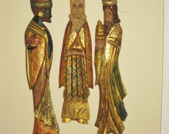 Large Carved Wood Three Wise Men,  Gold Gilt Wall Hangings, Tall Mexican Folk Art, Wooden Christmas Nativity Figures,
