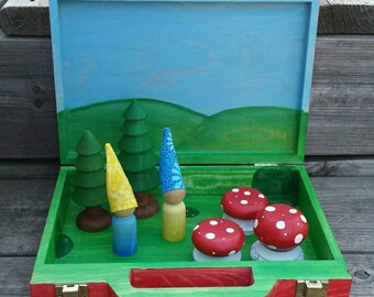 Traveling Gnome Set - Waldorf Toy Box - Montessori Busy Box - Waldorf Nature Table - Gnome Hats - Fairy Garden - Fairy Furniture - Toadstool