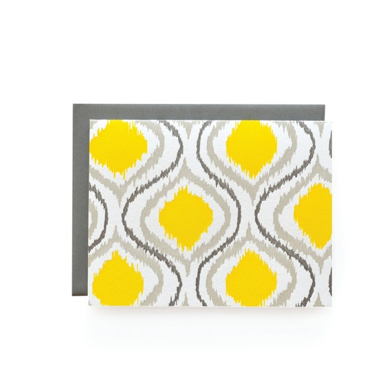 Ikat Letterpress Card, single
