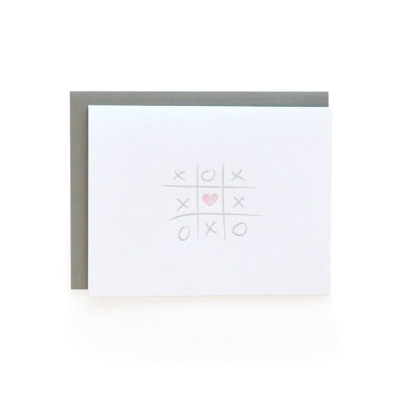 Letterpress Love card, xoxo and tic-tac-toe.