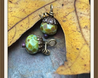 One Pair Acorn Pendants or Charms in Czech Glass & Antique Brass