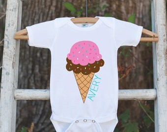 Ice Cream Cone Onepiece Bodysuit - Novelty Bodysuit Makes a Great Baby Shower Gift for a New Baby Girl - Personalized Ice Cream Outfit