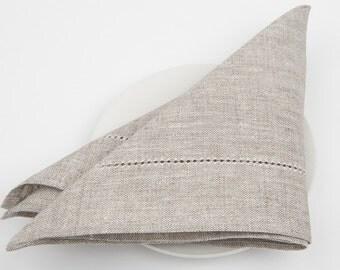 set of 6 Grey linen / cotton napkins