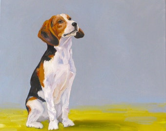 Best Friend. Original oil painting. Dog painting. Beagle painting. Beagle. Yvonne Wagner. Dog. 20 x 20 x 1.5 inch. Free Shipping to USA.