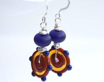 Cobalt Blue Disc Earrings, Lampwork Glass Earrings, Artisan Earrings, Light Weight Earrings, Beaded Earrings