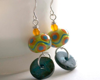Colorful Earrings, Lampwork Earrings, Green Earrings, Glass Bead Earrings, Lime Green Earrings, Aqua Blue Orange Earrings
