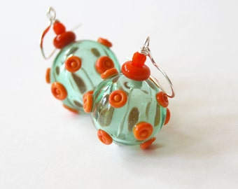 Hollow Blown Glass Earrings, Light Weight Earrings, Green Earrings, Polka Dot Earrings, Lampwork Glass Bead Earrings