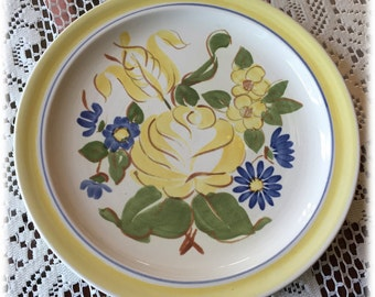 Red Wing China BRITTANY DINNER PLATE Yellow Rose Blue Flowers Handpainted
