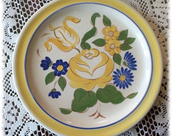 Red Wing China BRITTANY DINNER PLATE Yellow Rose Blue Flowers, Handpainted, Cottage Chic
