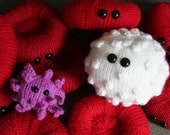 Blood Plush Collection - Red and White Blood Cells and an Activated Platelet