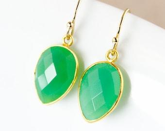 Green Chrysoprase Earrings – Dangle – 14K Gold Fill