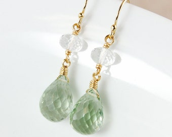 Crystal Quartz and Green Amethyst Earrings – 14K Gold Filled or 925 Sterling Silver