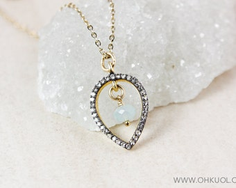 White Topaz Pave and Aqua Chalcedony Necklace – 14K Gold Filled Chain