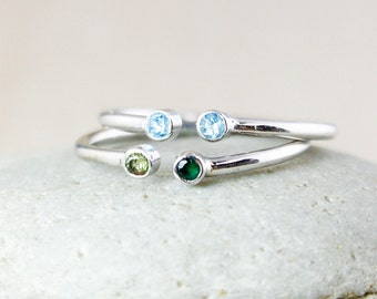 Custom Dual Birthstone Ring - Two Stone Ring - 925 Sterling Silver