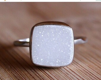 LABOR DAY SALE White Druzy Gemstone Ring - Cushion Cut - Sterling Silver