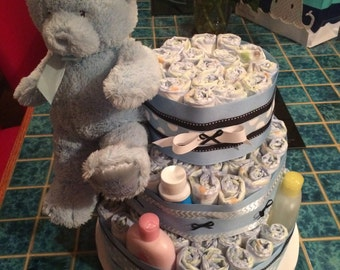 Baby blue 3-tiered diaper cake for baby boy shower - with bear and accessories