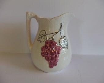 Vintage pitcher, marked, ceramic water Juice pitcher Fruit motiff