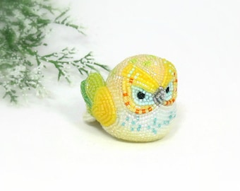 Owl Figurine Boho Decor Multi-Colored Yellow Green Beaded Art Animal Totem Spring Decoration *MADE TO ORDER