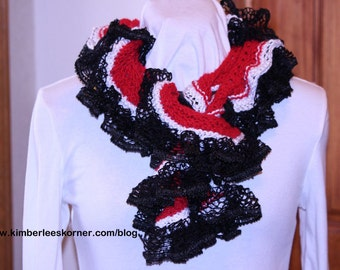 Knitting Pattern for Ruffle Scarf, Easy Knit Scarf Pattern, Knitting Patterns for Sashay Yarn, Spiral Scarf Pattern with Ruffle Yarn Edge