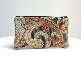 Black & Wine Paisley Zippered Bag with Beaded Zipper Pull - READY TO SHIP
