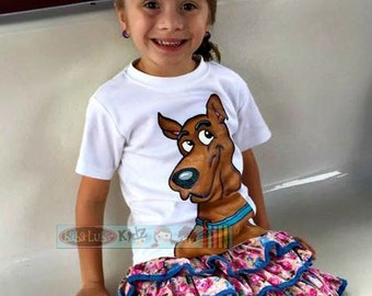 scooby Hand painted Custom Boutique SHIRT size 12 18 24 2 3 4 5 6 7 8 9 10 12 ETSYKIDS