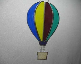Hot air balloon stained glass suncatcher