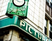 Vintage Sign art - Chicago print, emerald green decor -  The Granville - Chicago photography, retro decor, Chicago art, home decor