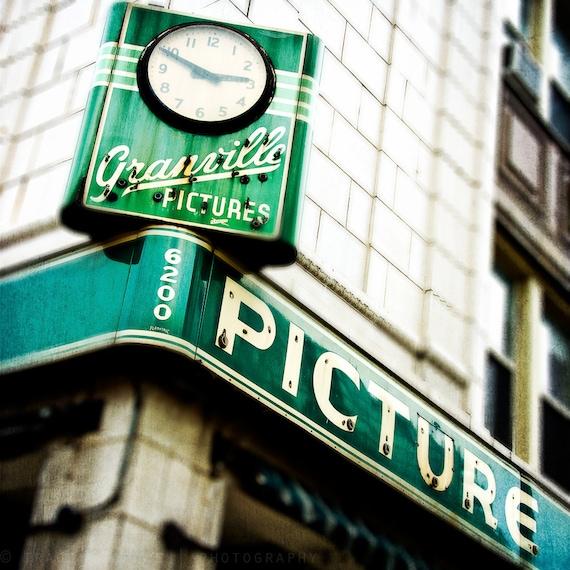 Vintage Sign art - Chicago print, emerald green decor -  The Granville - Chicago photography, retro decor, Chicago art, home decor