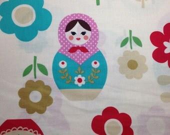 SALE 1yd Kokka MATRYOSHKA fabric cream