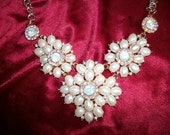 Statement Bridal Jewelry Statement Bib Pearls w Rhinestones necklace + earrings set inspired by TV series The ROYALS.