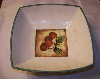 Italian Square Ceramic   Bowl  w Red Cherries on SAle