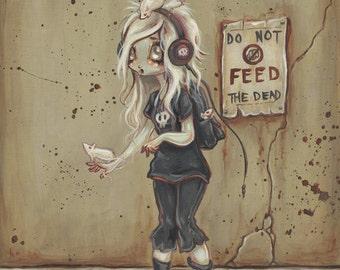 Zombie goth girl print -fantasy art lowbrow gothic -Asylum park Lucy