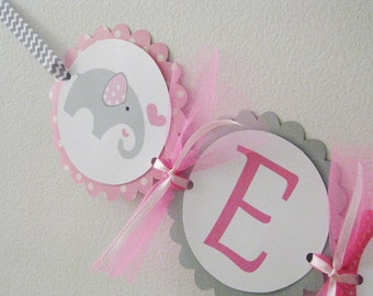 Pink Elephant Name Banner Pink and Gray Chevron