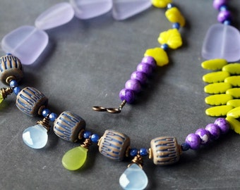 Unlisted - Sea Glass Necklace - Beach Treasure Necklace - Asymmetrical Necklace - Purple and Chartreuse - Bead Soup Jewelry