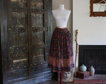 vintage floral India cotton gauze skirt