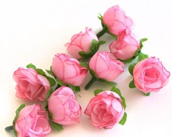 10 Small Pink Tea Roses - Artificial Flowers, Silk Roses